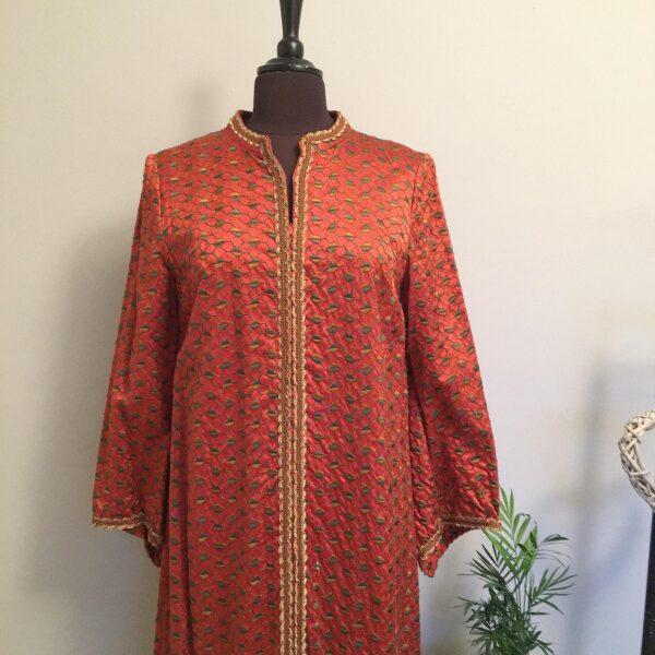 1960's amber satin embroidered kimono robe