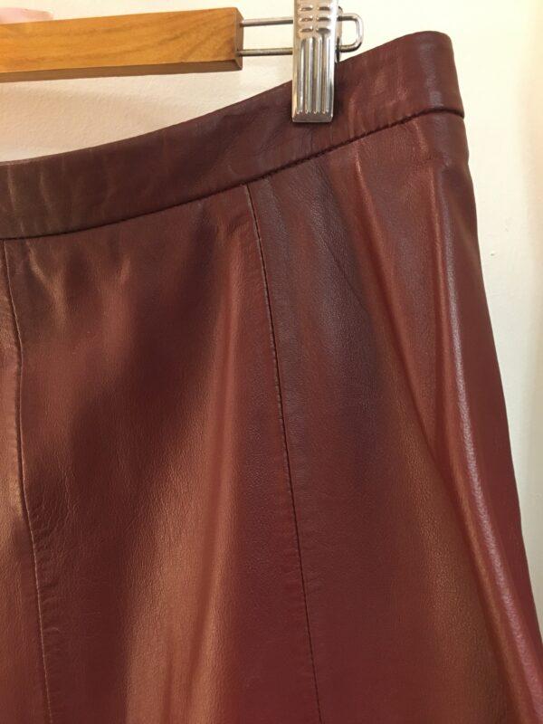 Marks and Spencer burgundy leather skirt