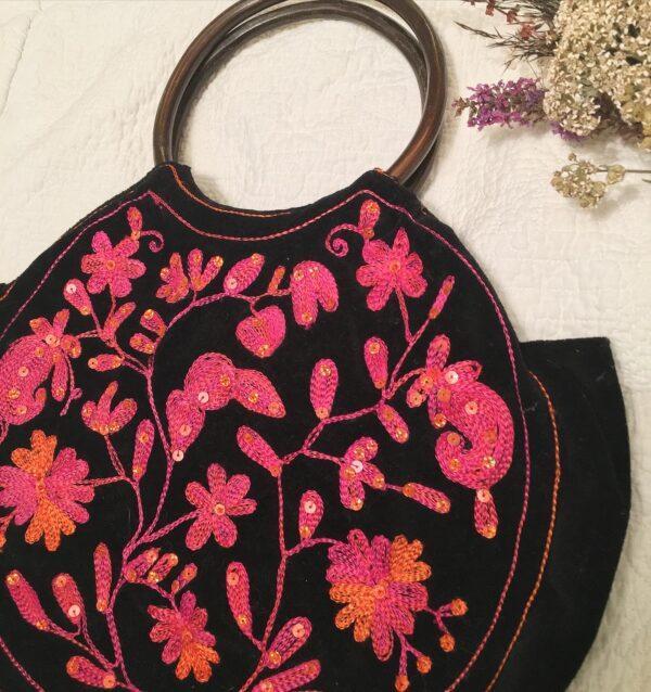 Indian pink/orange embroidered bag