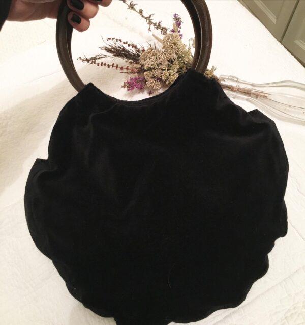 Indian embroidered bag, black velvet back of bag