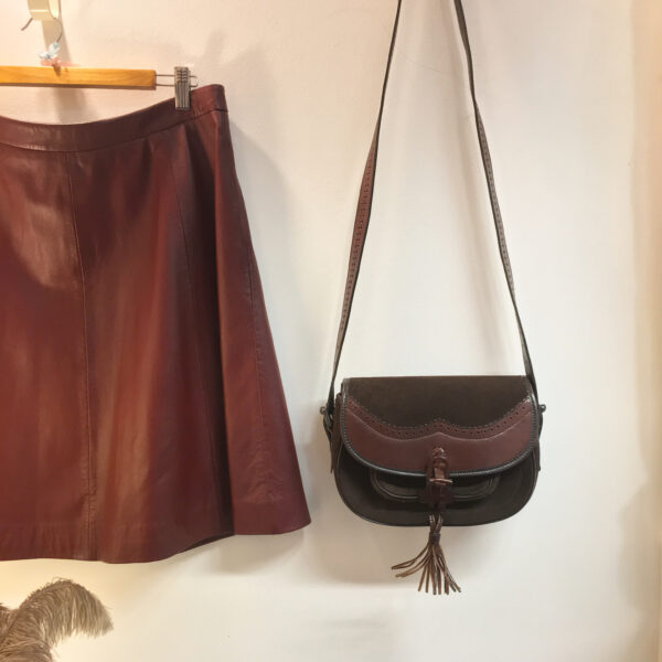 M&S leather skirt with Osprey bag