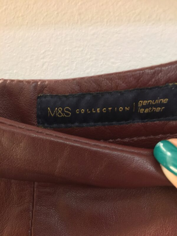 M&S burgundy leather skirt label