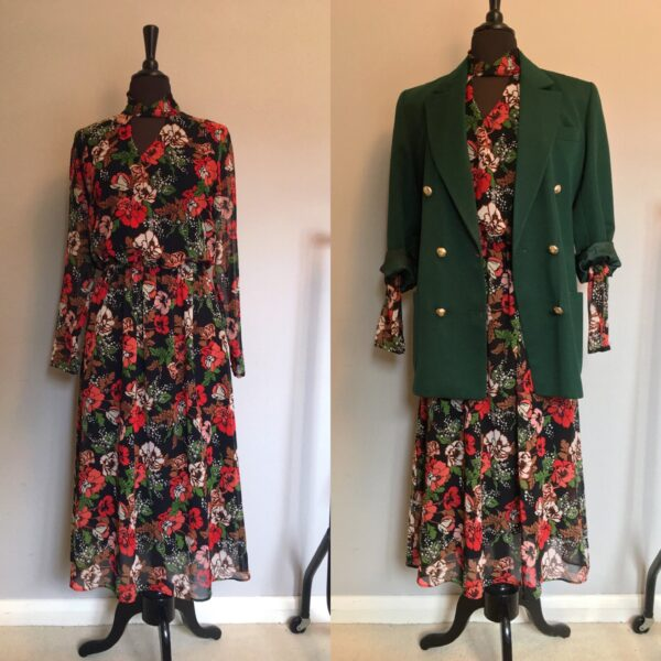 M&S floral maxi and green blazer