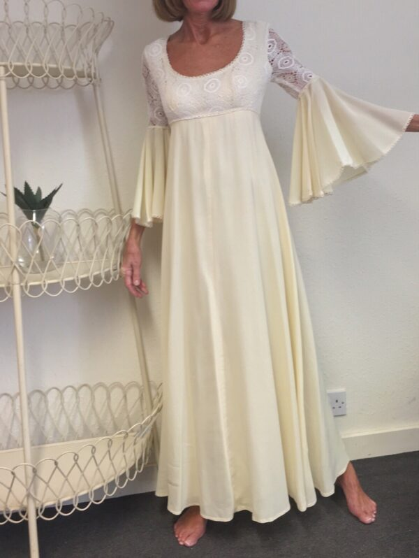 Richard shops cream 70s maxi with crochet bodice